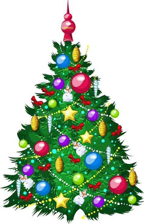 draw beautiful christmas tree  white  stock