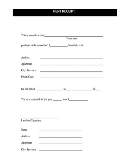room rent receipt template 42 free receipt forms