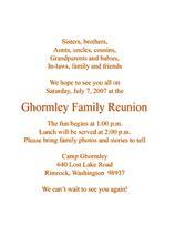 Family Reunion Invitation Letter Exles Family Reunion Invitations