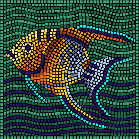mosaic pattern shapes angel fish foliage stencil design from stencil kingdom