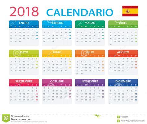Calendario 2018 España Calendario 2018 Versi 243 N Espa 241 Ola Stock De Ilustraci 243 N