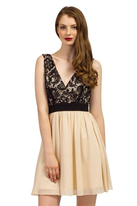 Dress Krem black lace detail wrap sleeveless dress