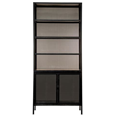 dacey industrial loft mesh metal cabinet bookcase