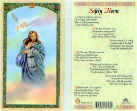 safely home prayer holy card i am home in heaven