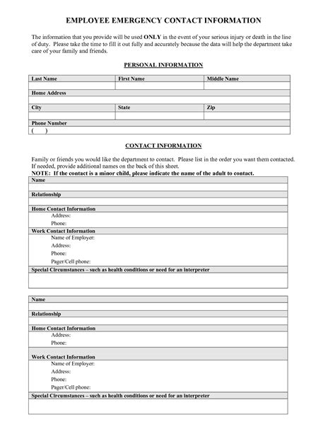 emergency information template employee emergency contact information sheet pictures to