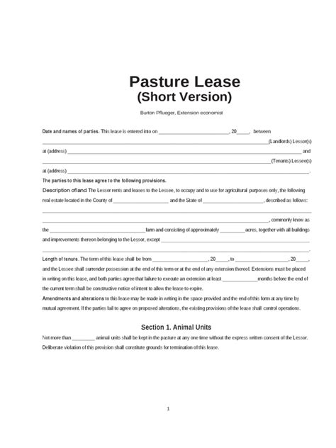Pasture Lease Agreement 4 Free Templates In Pdf Word Excel Download Grazing Lease Agreement Template