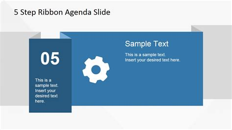 template de slides 5 items ribbon agenda slide template for powerpoint