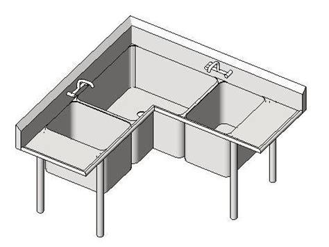 corner 3 compartment sink revitcity com object commercial sink 3 comp corner