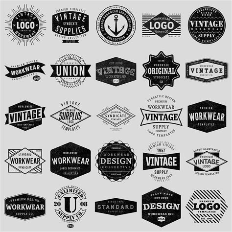 templates for logos logo templates vintage workwear thevectorlab