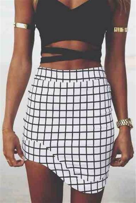 black and white pattern skirt outfit etta black and white check print wrap skort pink boutique