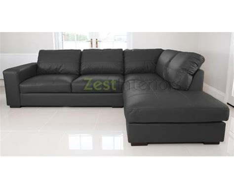 Large Leather Corner Sofas Uk Venice Right Corner Sofa Black Faux Leather W Chaise Lounge
