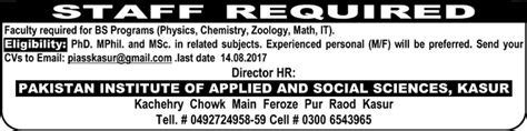 jobs in pakistan institute of applied and social science