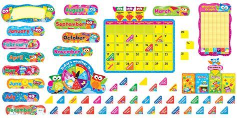 owl stars 174 calendar bulletin board set