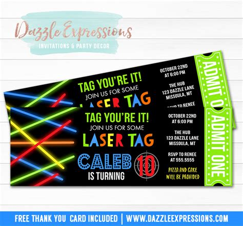 free printable birthday invitations laser tag printable glow laser tag ticket birthday invitation kids