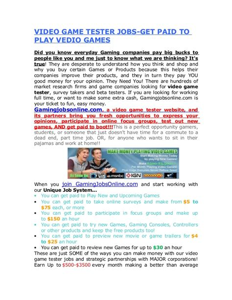 video game tester jobs get paid to play vedio games