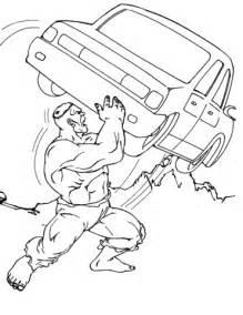 ausmalbild hulk wirft ein auto durch die luft