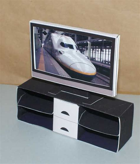 Tv Papercraft - papercraft flatscreen tv media cabinet dollhouse