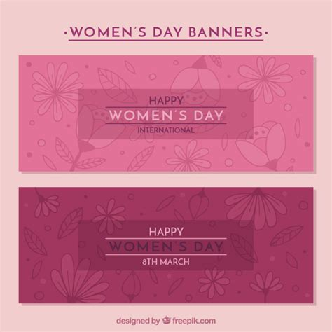 day banners free pink s day banners with floral decoration vector