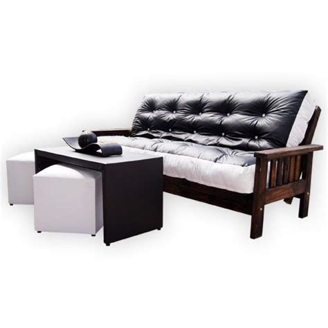 futon de pino 2 cuerpos combo futon de 3 cuerpos en ecocuero mesa ratona con dos