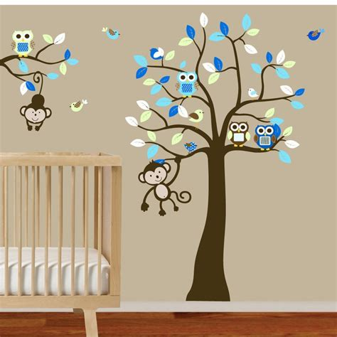 Nursery Wall Decals Boy Baby Boys Nursery Tree And Branch Wall Decal Owls Birds Monkeys Via Etsy Baby Thinking