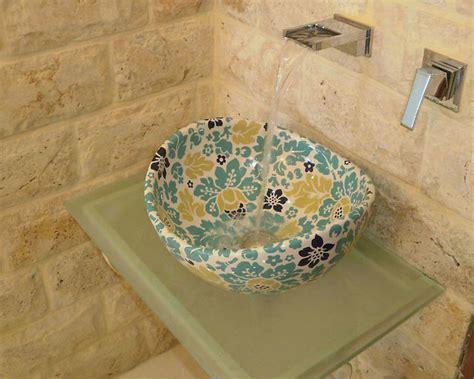 floral bathroom sinks custom colored floral vessel sink top mediterranean