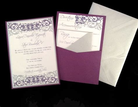 panel pocket wedding invitations paper our wedding by the sea