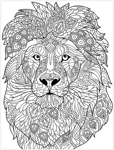 lion coloring page for adults lion complex patterns lions coloring pages for adults