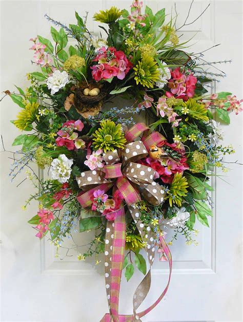 x large charming spring summer outdoor wreath with green