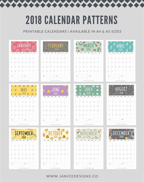 Printable Calendar Review | 2018 calendar patterns a5 binder clipboard wire binding