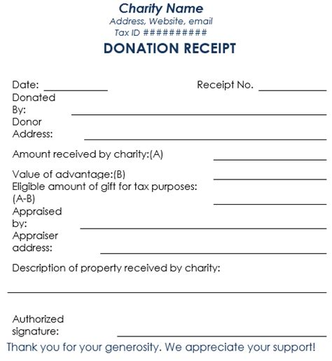 charity receipt template non profit donation receipt word free