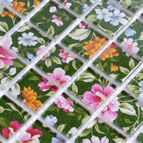 flower pattern wall tiles glass mosaic wall art murals puzzle mosaic tile designs h048