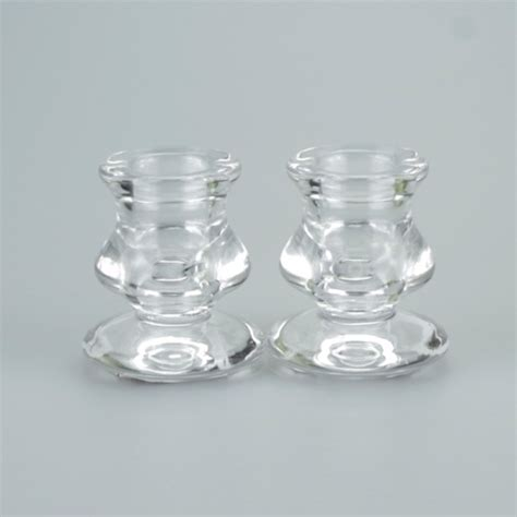 Candle Holders Uk A Pair Of Stylish Glass Taper Candle Holders Justcandles