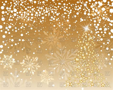 free royalty free clipart brown background with snowflakes and fir tree