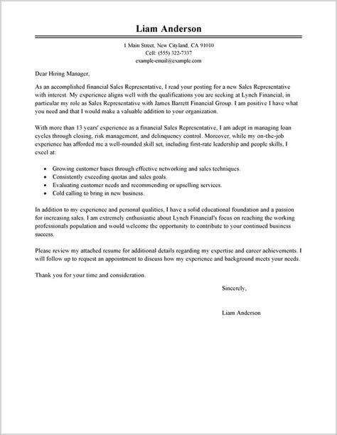 Sles Of Cover Letters For Resume by Free Sle Cover Letter For Sales Representative Cover