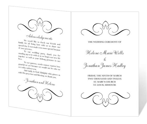 program template free wedding program template printable instant