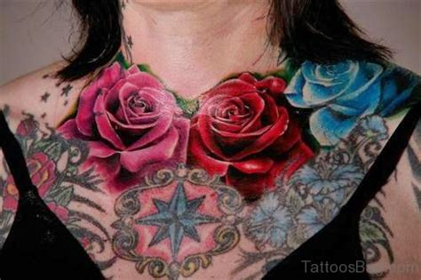 rose and star tattoo 50 classic flowers tattoos for chest