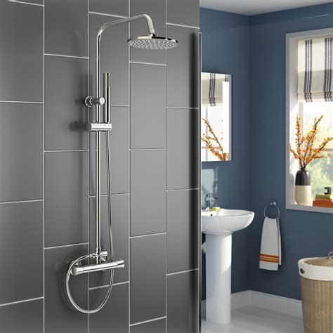 Modern Bathroom Suites Uk - modern bathroom mixer shower thermostatic twin head set chrome square or round ebay
