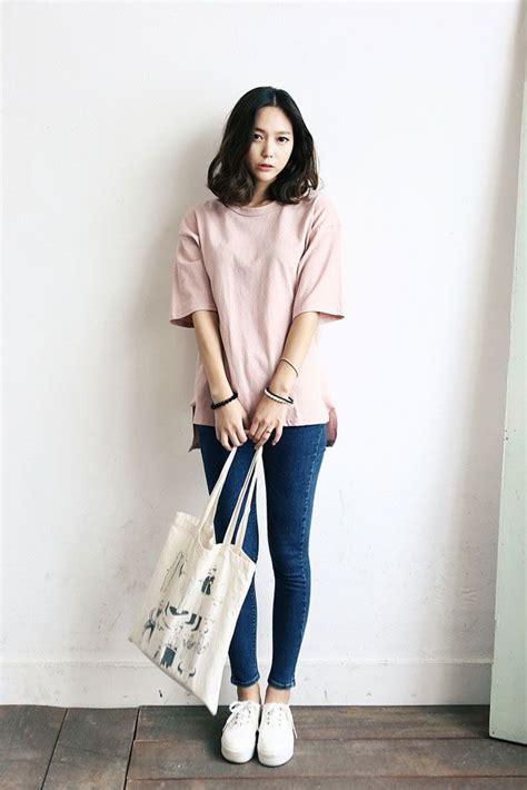 Heels Fashion Kore Import pink shirt blue white shoes hair tote style my korean fashion
