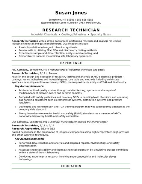 research technician resume sle