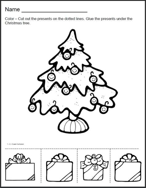 christmas cut and color tree sheet to color cut and paste crafts curriculum worksheets and