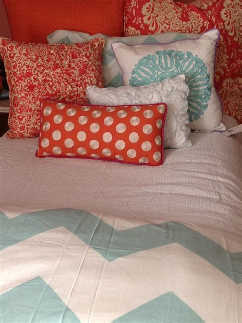 coral color comforter coral and mint dorm bedding dorm decor pinterest