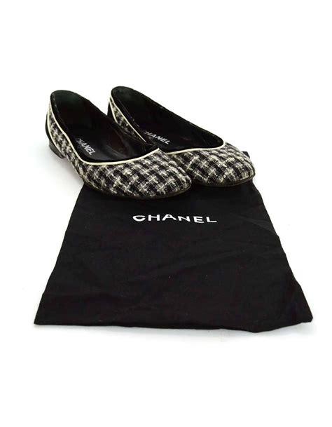 chanel black and grey tweed flats sz 38 at 1stdibs