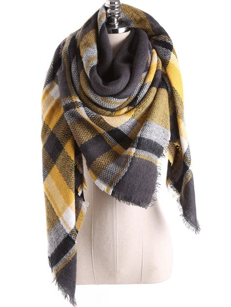 plaid decke winter tartan plaid blanket shawl scarf in charcoal gray