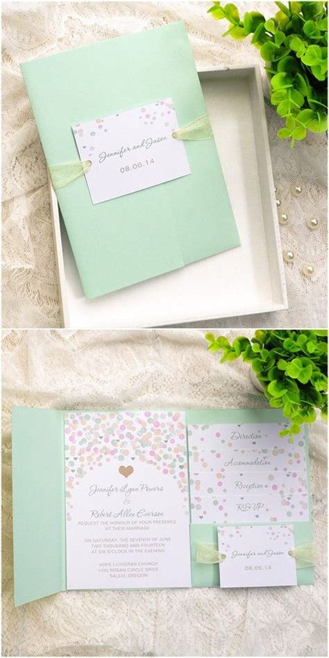 mint green and pink wedding invitations affordable mint green polka dot pocket wedding invitations ewpi117 mint green wedding and wedding