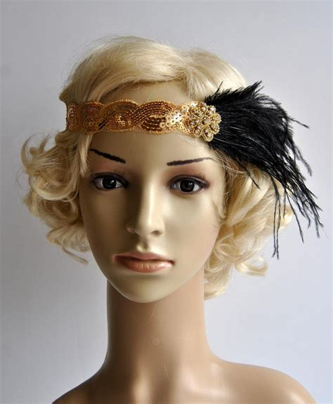 gatsby headpieces gold 1920 s gatsby headpiece chamagne gold black