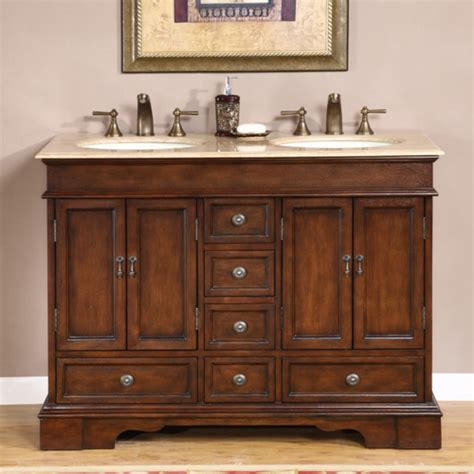 Bathroom Vanities And Cabinets Clearance 48 Inch Small Double Sink Vanity In Antique Brown With