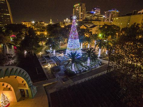 lake eola christmas lights tree on lake eola drones orlando