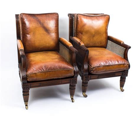 Bergere Armchairs by Pair Of Regency Style Mahogany Bergere Armchairs For Sale