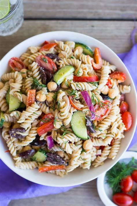 creamy pasta salad recipes creamy tahini greek pasta salad she likes food