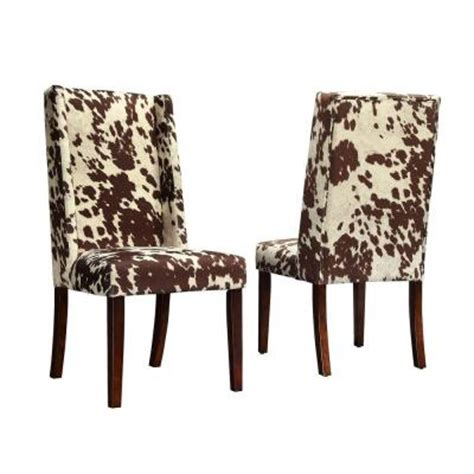Cowhide Upholstered Chairs homesullivan geoffrey cowhide print upholstered wingback side chairs 40983c912w 3a 2pc the